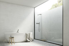 White bathroom with a tub, corner Royalty Free Stock Photography