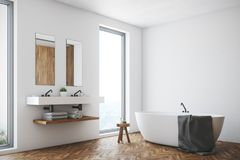 White bathroom, white tub, corner. Corner of a white bathroom interior with a wooden floor, a window, a double sink and a white tub. 3d rendering mock up stock illustration