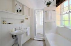 White Bathroom. A wide angle photo of a white bathroom Stock Image