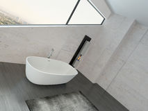 White bathtub against stone wall with fireplace. Image of White bathtub against stone wall with fireplace Stock Image