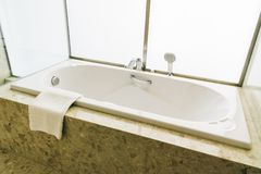 White bathtub. Decoration interior of bathroom Stock Photography