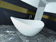 White bathtub stading in front of black tiled wall Royalty Free Stock Photos