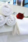 White bathtub with towel Royalty Free Stock Photo