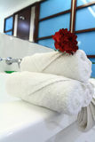 White bathtub with towel Stock Photo