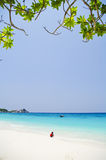 White beach with beautiful blue sea Stock Photo