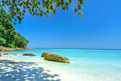 White Beach and Blue Ocean with  Blue Sky at Tachai Island Thail. And Royalty Free Stock Image