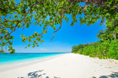 White Beach and Blue Ocean with  Blue Sky at Tachai Island Thail. And Royalty Free Stock Photos