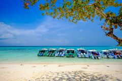 White Beach and Blue Ocean at Rok Island Thailand Royalty Free Stock Image