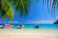 White Beach and Blue Ocean at Rok Island Thailand. White Beach Blue Ocean and Blue Sky  at Rok Island Thailand Royalty Free Stock Image