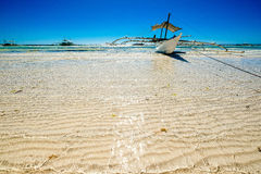 White Beach. Boat docked in Panglao Island beach in bohol philippines Royalty Free Stock Photography