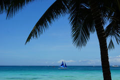 White Beach, Boracay, Philippines. Turquoise water with blue sail boat and palm tree Royalty Free Stock Photography