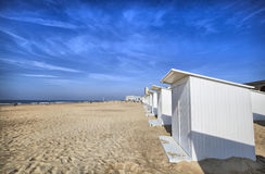 White beach cabins at Ostend Stock Photography
