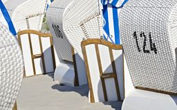 White beach chairs Royalty Free Stock Photography