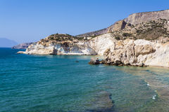 White beach and coastline at the Greek island of Milos Royalty Free Stock Photography