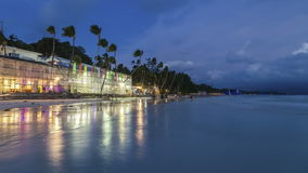 White beach in island Boracay after sunset. 4K TimeLapse - August 2016, Boracay, Philippines stock video footage