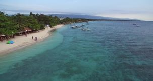 White Beach in Moalboal. Very Popular Beach in the province of Cebu, Philippines stock footage