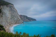 White beach, Porto Katsiki, with blue sea in Lefkada, Greece royalty free stock images