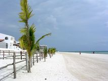 White Beach -Puerto Morelos. North view of beach at Puerto Morelos Mexico. The sand is made of small particles of coral from the coral reef five hundred metres stock image