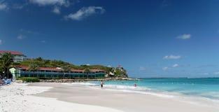 White Beach Resort. Beautiful white caribbean beach with hotel resort Royalty Free Stock Photo