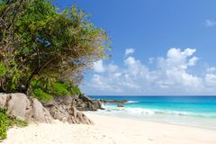White beach by the sea on Seychelles Stock Images