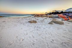 White Beach Tasmania. Scenic and pristine white sandy beach with turquoise crystal waters and orange lichen covered granite boulders at sunset. The Gardens in Royalty Free Stock Photos