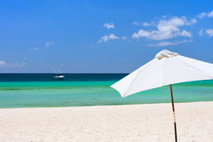 White beach umbrella Royalty Free Stock Photo
