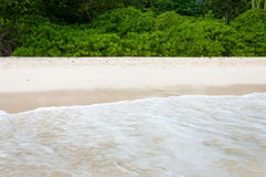 White beach with waves and green jungle Royalty Free Stock Photos