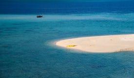 The white beach with yellow canoe in tropical sea. At karma beach, lipe island stock photos