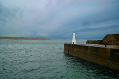 White Beacon on end of Harbour, in Cullen, Scotland Stock Images