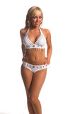White Beaded Bikini Blonde Stock Images