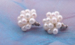 White beaded earrings Royalty Free Stock Photos