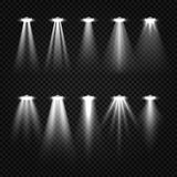 White beam lights, spotlights  on dark transparent background Royalty Free Stock Images