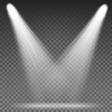 White Beam Lights Spotlights Vector. Different Shapes And Projections Gleaming In Darkness. White Beam Lights Spotlights Vector. Glowing Light Effects Isolated Royalty Free Stock Photo