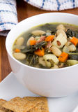 White bean bacon and kale soup Royalty Free Stock Photography
