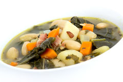 White bean bacon and kale soup Royalty Free Stock Images