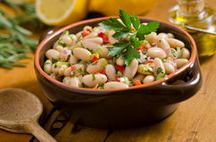White Bean Cannellini Salad. A healthy white bean cannellini salad with olive oil dressing and peppers Stock Image