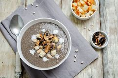 White bean mushrooms soup with croutons. royalty free stock photography