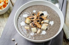 White bean mushrooms soup with croutons royalty free stock images