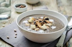 White bean mushrooms soup with croutons royalty free stock image