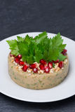 White bean pate with nuts and pomegranate seeds, vertical Stock Photos