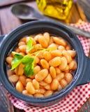 White beans. In black bowl Stock Photo
