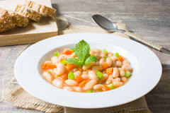 White beans with carrot and green pepper Royalty Free Stock Images