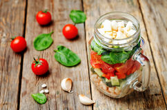 White beans cucumber tomato red pepper feta spinach salad in a j Royalty Free Stock Photography