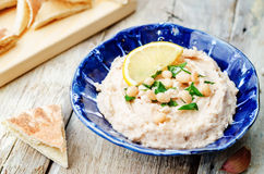 White beans hummus with lemon Stock Photo
