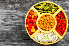 White Beans, pickled cabbage, cherry tomatoes, cucumbers, chili Royalty Free Stock Photography