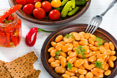 White Beans, pickled cabbage, cherry tomatoes, cucumbers, chili Royalty Free Stock Photo