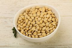 White beans. Raw White beans in the bowl over wooden background Stock Photography