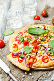 White beans, spinach, corn and tomato pizza with white beans cru Royalty Free Stock Image