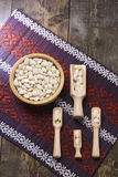 White beans in a wooden bow Stock Photo