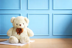 White bear. Baby and kid theme photo background Royalty Free Stock Photo
